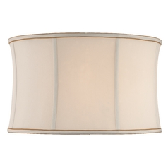 White Silk Drum Lamp Shade with Gold Trim
