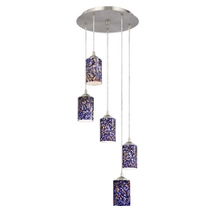 Design Classics Lighting Modern Multi-Light Pendant Light with Blue Glass and 5-Lights 580-09 GL1009C
