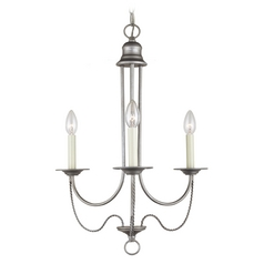 Mini-Chandelier in Weathered Pewter Finish