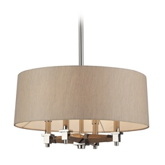 Modern Drum Pendant Lights in Polished Nickel Finish