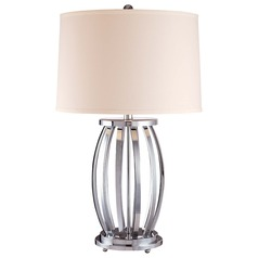 Minka Lavery Chrome Table Lamp with Drum Shade