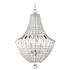 Minka Lavery Braiden Chrome Pendant Light with Bowl / Dome Shade