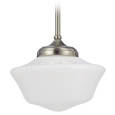 Design Classics Lighting 14-Inch Schoolhouse Pendant Light in Satin Nickel Finish FA6-09 / GA14