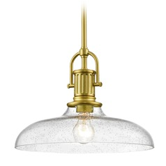 Industrial Seeded Glass Pendant Light Brass 14-Inch Wide