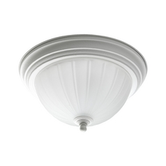 Flushmount Light with White Glass in White Finish