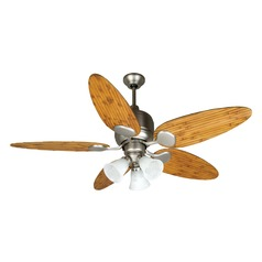 Craftmade Lighting Kona Bay Brushed Satin Nickel Ceiling Fan with Light
