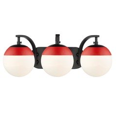 Golden Lighting Dixon Black Bathroom Light with Red Accent