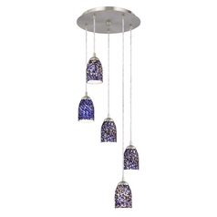 Design Classics Lighting Modern Multi-Light Pendant Light with Blue Glass and 5-Lights 580-09 GL1009D