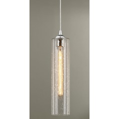 Seeded Glass Mini-Pendant Light Chrome