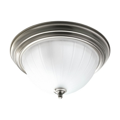 Flushmount Light with White Glass in Brushed Nickel Finish