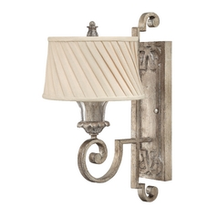 Sconce Wall Light with Beige / Cream Shade in Silver Leaf Finish