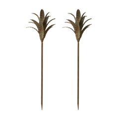 Patina Iron Leaf Stem - Set Of 2
