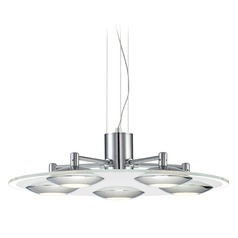 Lite Source Fruma Chrome LED Pendant Light with Oblong Shade