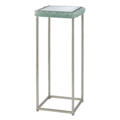 Currey and Company Cyathea Silver Leaf / Seaglass Accent Table