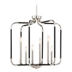 Mid-Century Modern Pendant Light Black w/ Polished Nickel Liege by Minka Lavery