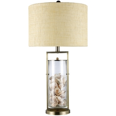 Table Lamp with White Shade in Antique Brass and Clear Glass Finish