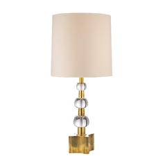 Modern Table Lamp with Beige / Cream Paper Shades in Aged Brass Finish