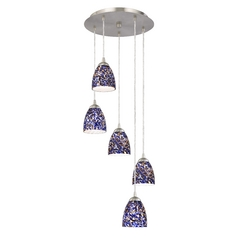 Design Classics Lighting Multi-Light Adjustable Pendant with Blue Art Glass and Five Lights 580-09 GL1009MB