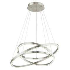 Modern 32-Inch Triple Ring LED Pendant Light Satin Nickel Finish