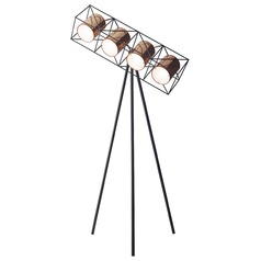 Mid-Century Modern Floor Lamp Matte Black W. Copper Accents Action by Adesso Home Lighting