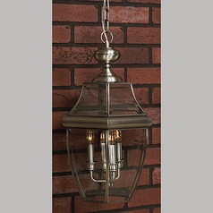Outdoor Hanging Light with Clear Glass in Pewter Finish