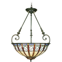 Quoizel Lighting Pendant Light with Multi-Color Glass in Vintage Bronze Finish TFAV2823VB
