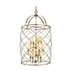 Corbett Lighting Argyle Aged Brass Island Light with Cylindrical Shade