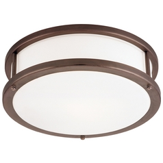 Modern Flushmount Light with White Glass in Bronze Finish