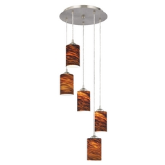 Design Classics Lighting Modern Multi-Light Pendant Light with Brown Art Glass and 5-Lights 580-09 GL1023C