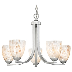 Modern Chandelier with Mosaic Glass in Polished Chrome Finish