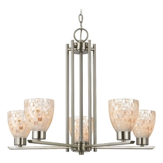 Chandelier with Mosaic Glass in Satin Nickel Finish - 5-Lights