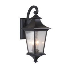 Seeded Glass Outdoor Wall Light Black Craftmade Lighting