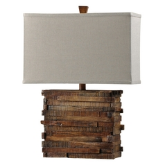 Stylecraft Rustic Wood Base Table Lamp