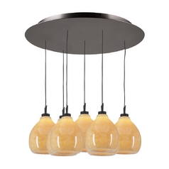 Modern Multi-Light Pendant Light with Beige / Cream Glass and 7-Lights