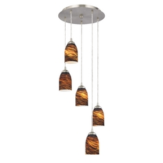 Modern Multi-Light Pendant Light with Brown Art Glass and 5-Lights