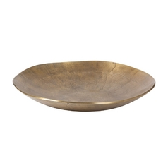 Shallow Round Decorative Bowl in Distressed Bronze Finish