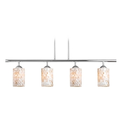 Linear Pendant Light with 4-Lights and Mosaic Glass in Chrome Finish