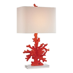 LED Table Lamp with Beige / Cream Shade in Red Coral Finish