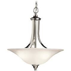 Kichler Lighting Kichler Pendant Light with White Glass in Brushed Nickel Finish 10702NI