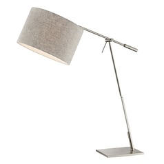 Lite Source Lucilla Brushed Nickel Swing Arm Lamp with Drum Shade