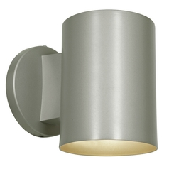 Outdoor Cylinder Wall Light in Satin Nickel Finish