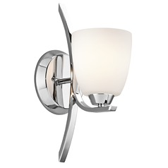 Kichler Sconce Wall Light with White Glass in Chrome Finish