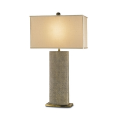 Modern Table Lamp in Tan Sharkskin/brass Finish