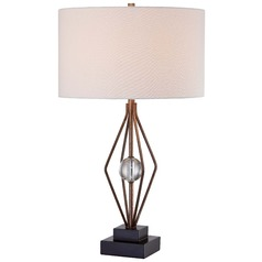 Minka Ambience Silver Leaf Table Lamp with Drum Shade