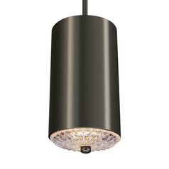 Feiss Botanic Aged Pewter Mini-Pendant Light with Cylindrical Shade
