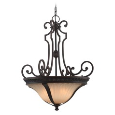 Lite Source Crescentia Antique Bronze Pendant Light with Fluted Shade