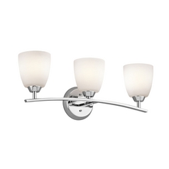 Kichler Bathroom Light with White Glass in Chrome Finish