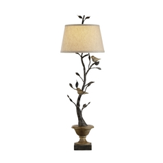 Table Lamp with Beige / Cream Shade in Old Bronze/rustic Wood Finish