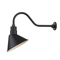 Black Outdoor Barn Wall Light with Gooseneck Arm and 12