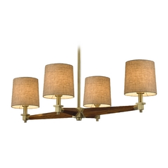 Modern Chandelier with Beige / Cream Shades in Satin Brass Finish